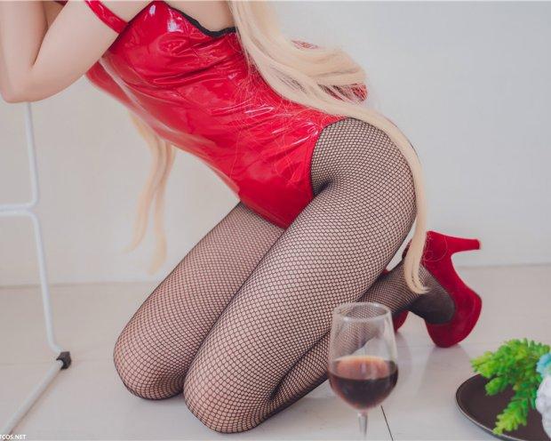 喵糖映画 VOL.021 黑网袜红色兔女郎 红酒杯[40P-761M]