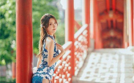 黑川-青花旗袍短裙[33P-318M]